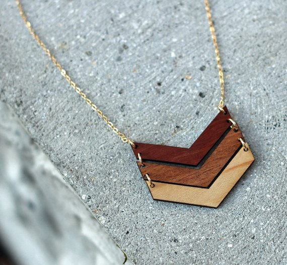 Ombre chevron wood necklace! Check out more Wood gifts for her - perfect for any occasion - birthday anniversary or even Christmas. Great 5th anniversary gift
