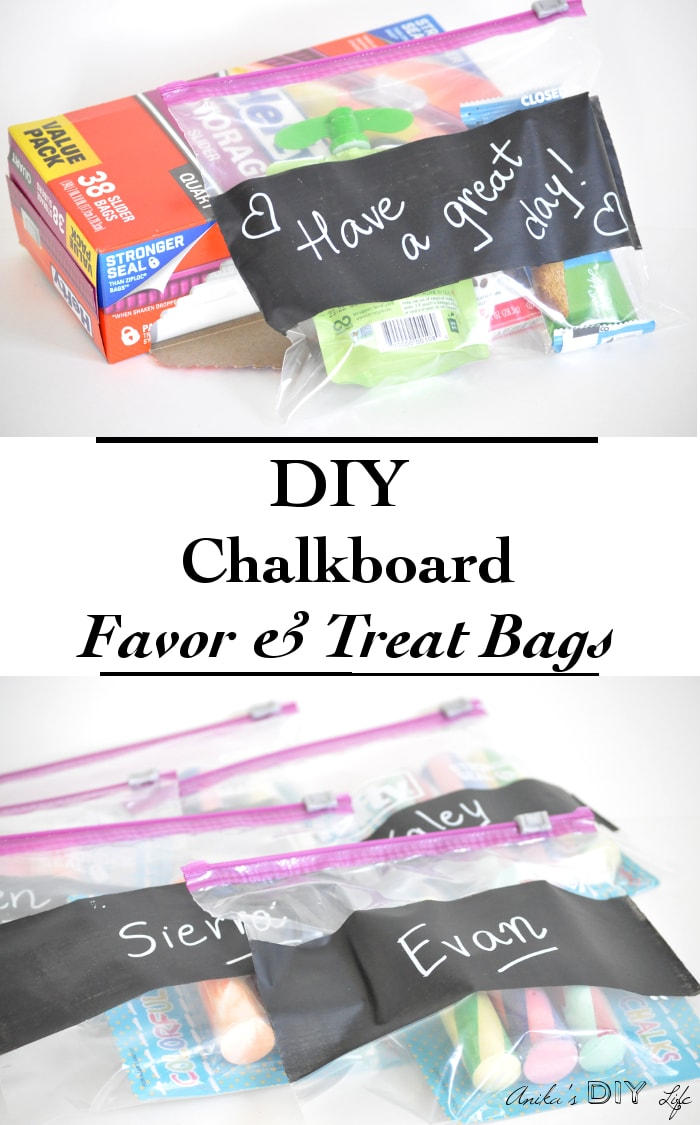 COllage of DIY chalkboard favor bags with text.