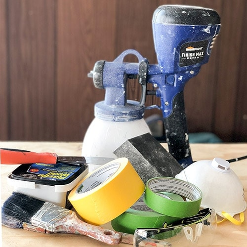 7 essential supplies needed to paint furniture. This list of painting tools is all you need to paint wood furniture for a professional look!