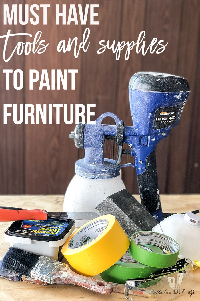 Collection of supplies needed to paint furniture with text overlay