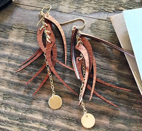 Pretty Whispering Willow Wood Earrings