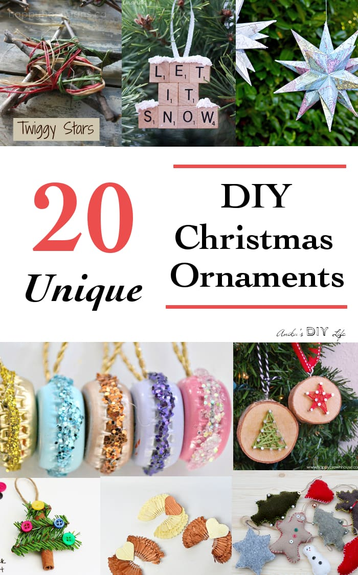 Collage of 20 Christmas ornaments with text overlay