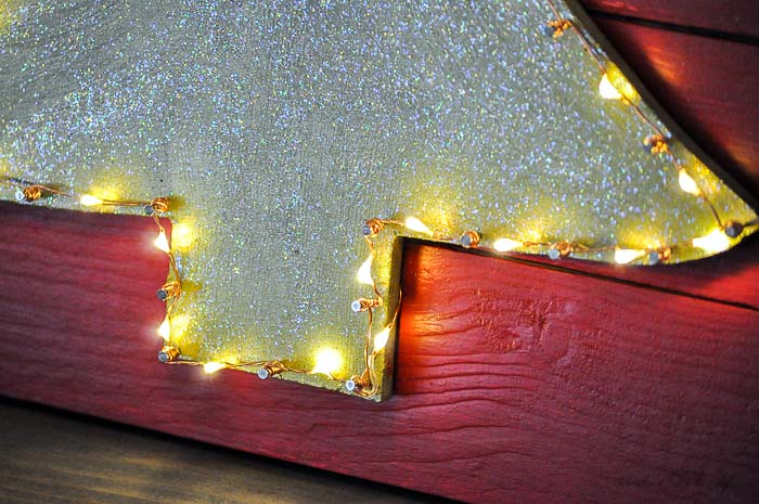 Close up of DIY christmas decor with LEDs
