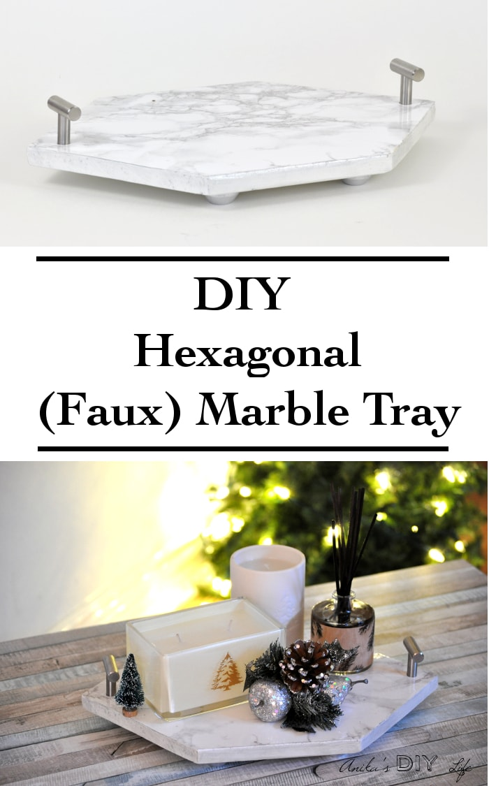 Wow! She made this DIY Hexagonal marble tray using wood! I can't believe how easy it is!