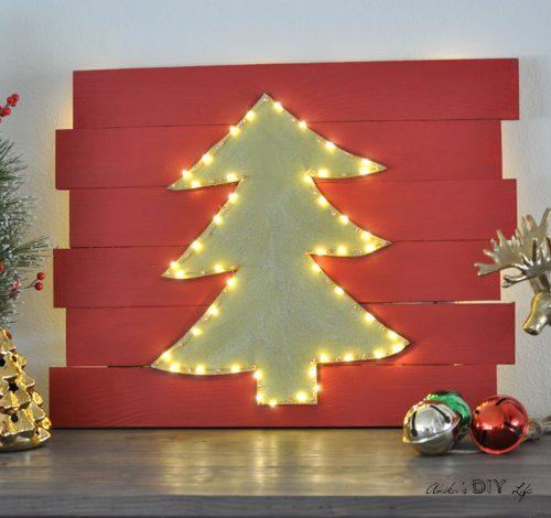 DIY LED Christmas tree wall decor
