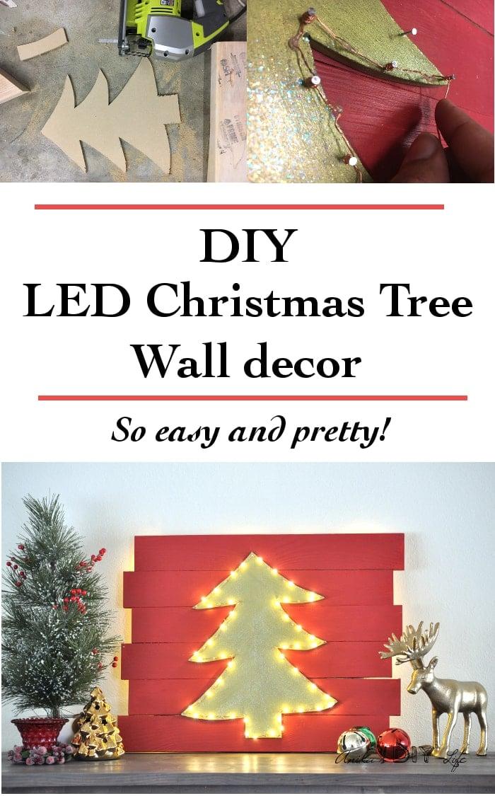DIY Christmas Wall Decor Idea - Light Up Tree - Anika\'s DIY Life