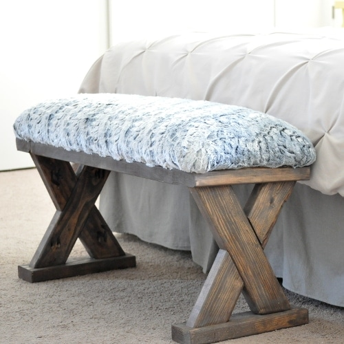 DIY Upholstered X-Bench using 2 x 4 boards with Plans