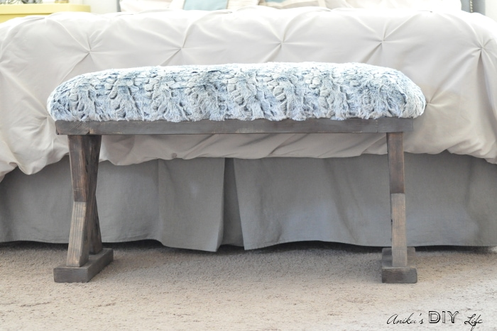 I can't believe how easy it is to make this bench! And it is so pretty! They have full step by step instructions on building and upholstering