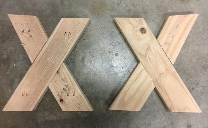 Building the DIY upholstered X-bench from 2 x 4 boards