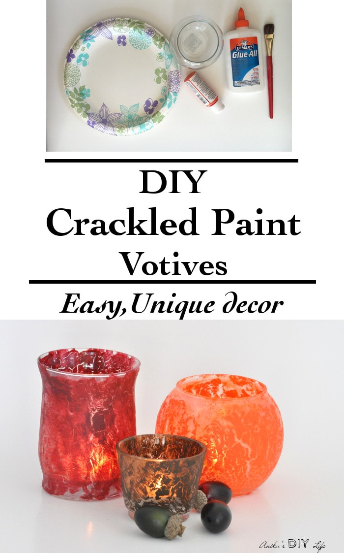 You do not need any special paints to make these easy DIY crackled paint votives! I will show you how to get the crackled paint finish with basic materials
