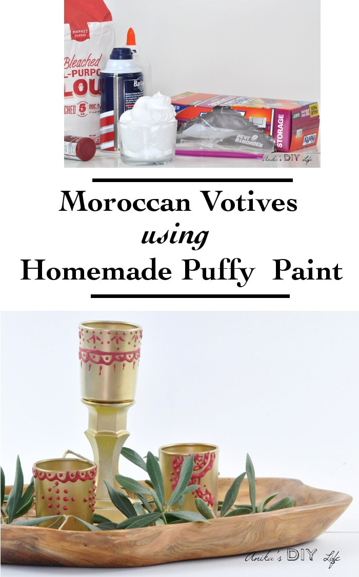 Can you believe these DIY moroccan candle holders were made using homemade puffy paint