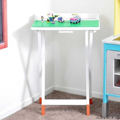 Portable DIY Lego Table from old TV Table