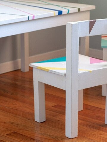 DIY Kids Tabel and Chair set with colorful abstract design