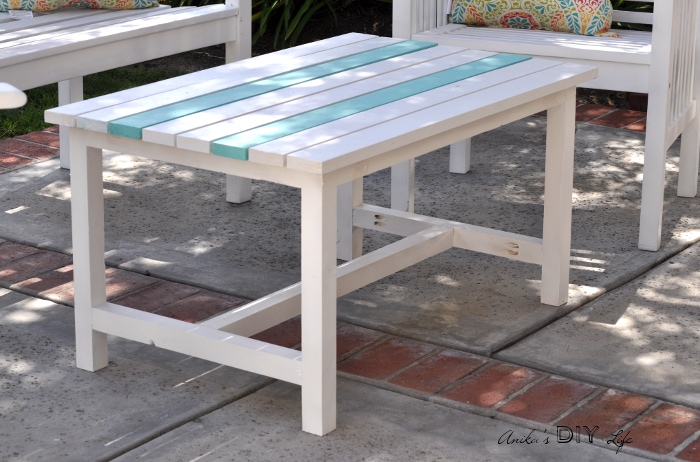 DIY coffee table in patio