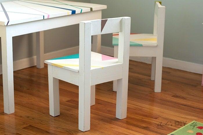 DIY kids table and chair set in kids playroom