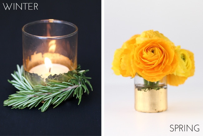 You have got to see all the ideas on this page for DIY gold home decor like these gold foiled vases