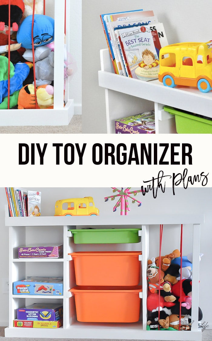 DIY toy organizer collage with text overlay