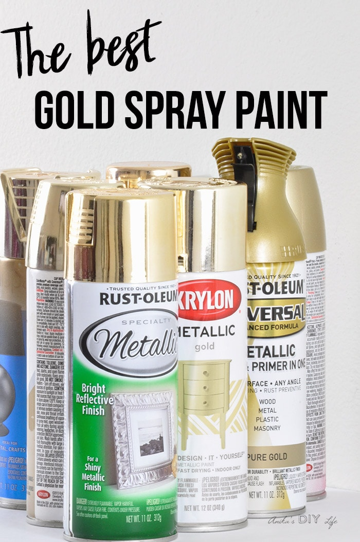 Cans of gold spray paint with text overlay