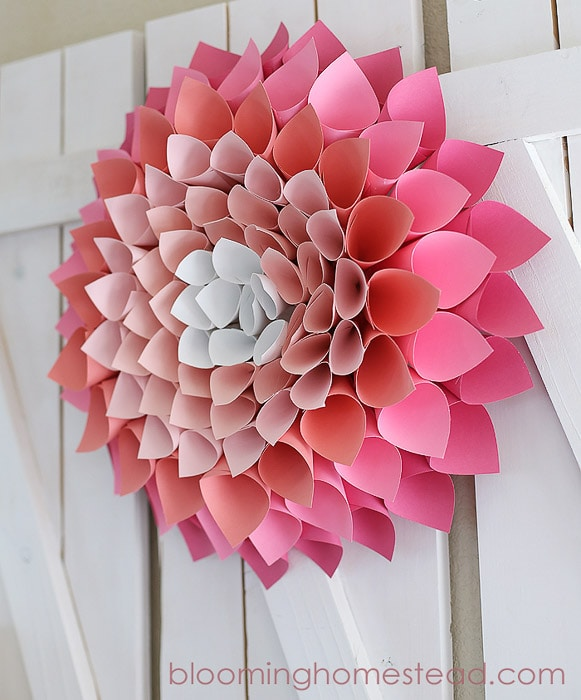 large pink ombre flower made with cardstock
