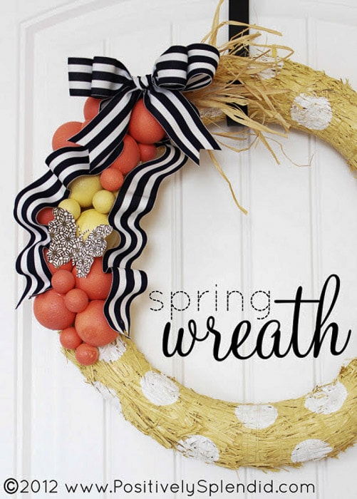 wreath made with painted foam balls