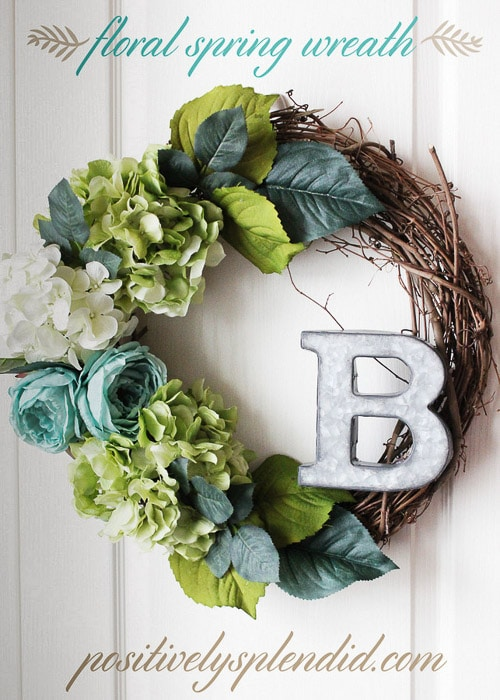 grapevine wreath with faux greenery and letter B