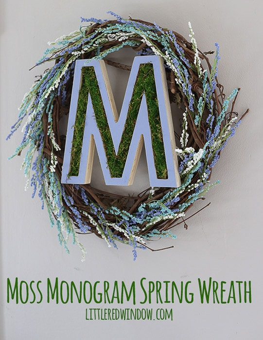 Moss monogram spring wreath with the letter M