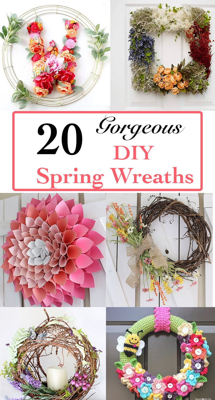 20 amazing DIY spring wreath ideas. Don't miss #4! Easy ideas to advanced ones too.