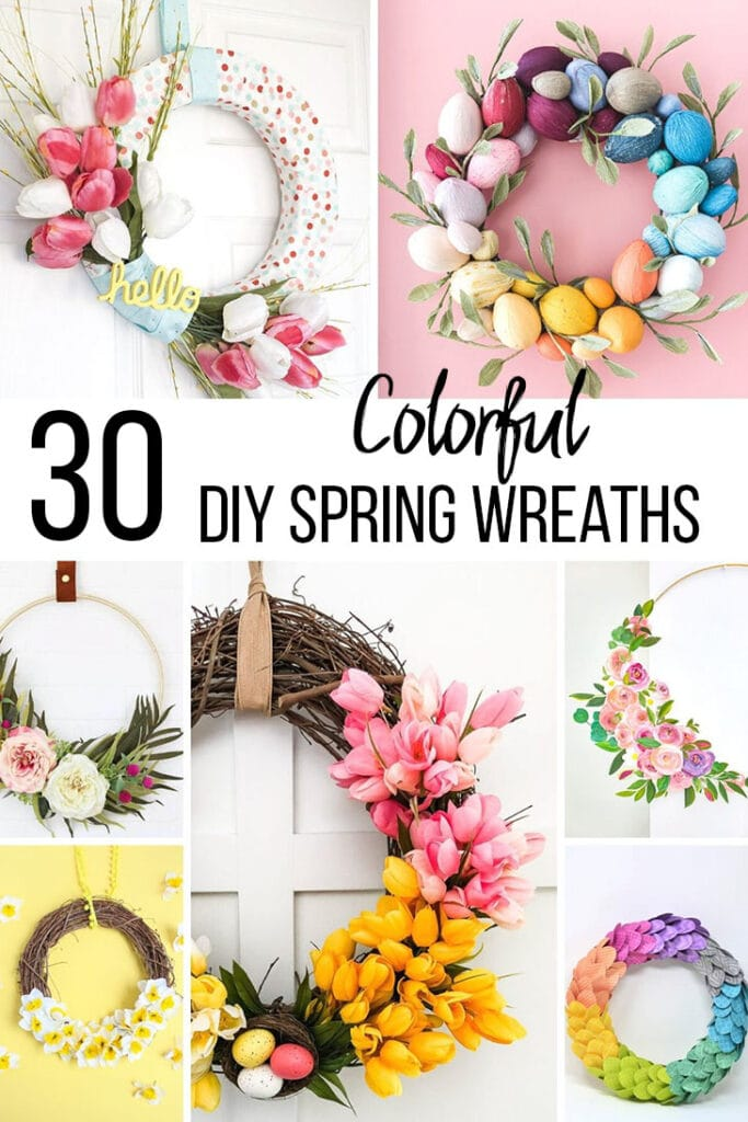 collage of colorful DIY spring wreath ideas with text obverlay