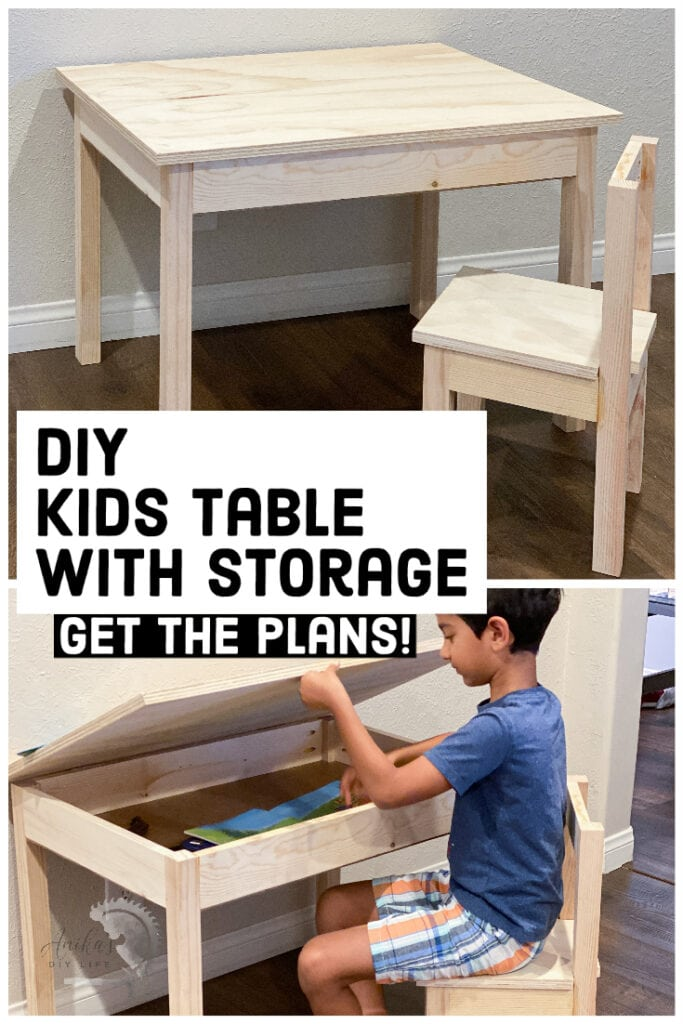 Collage of Kids desk with storage and child opening storage compartment with text overlay