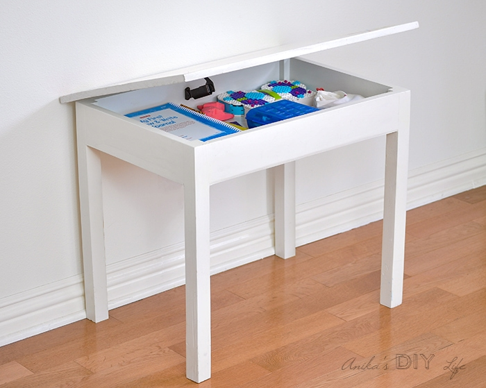 DIY Kids table with storage under the top