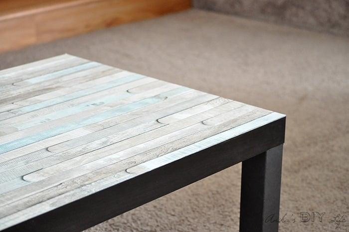 An easy Ikea Lack coffee table hack | faux wood Ikea Lack hack | Farmhouse Ikea Lack table hack