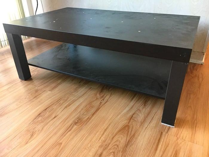 Ikea Lack coffee table hack | faux wood Ikea Lack hack | Farmhouse Ikea Lack table hack