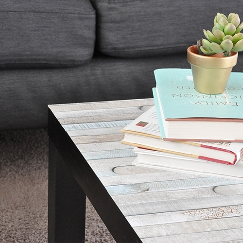This Ikea Lack coffee table makeover is the easiest you will ever see! The plain table top can be easily transformed into your favorite farmhouse look with this simple hack that takes about 5-minutes!