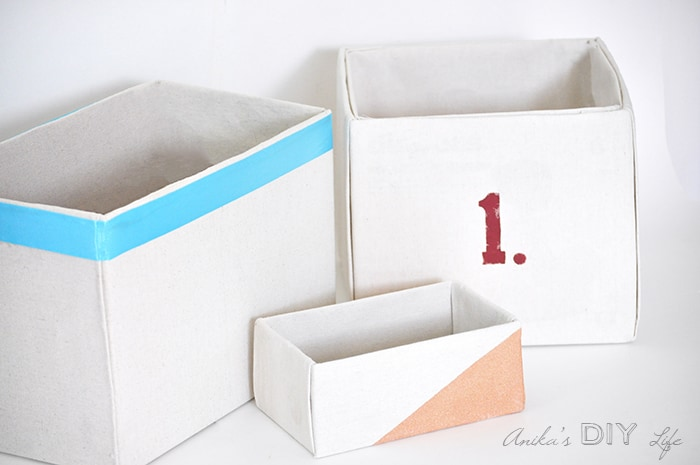 Easy No sew drop cloth covered canvas storage bins with no sew liner. This is the best step by step tutorial! So easy!