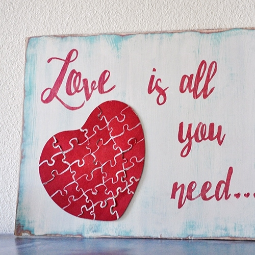 Distressed Puzzle Wall Art – Love is all you need!