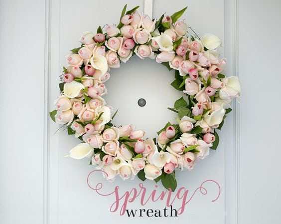 Simple wreath with lots of pink faux roses