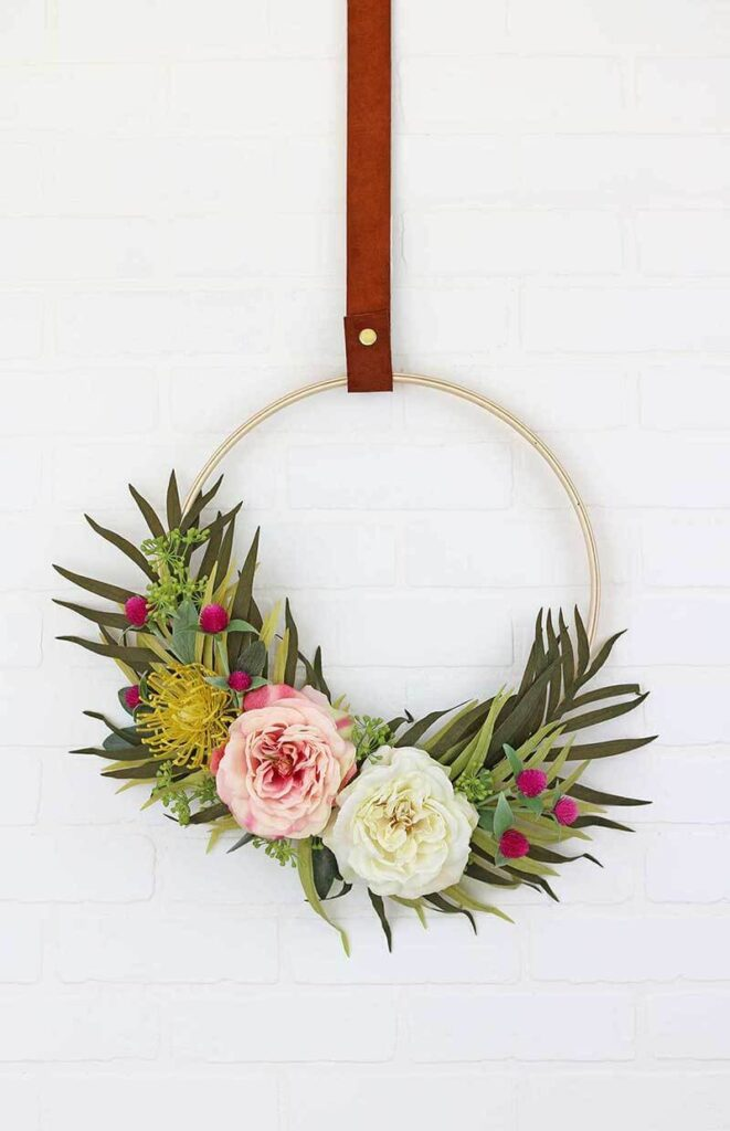 Embroidery hoop with colorful flowers and some greenery