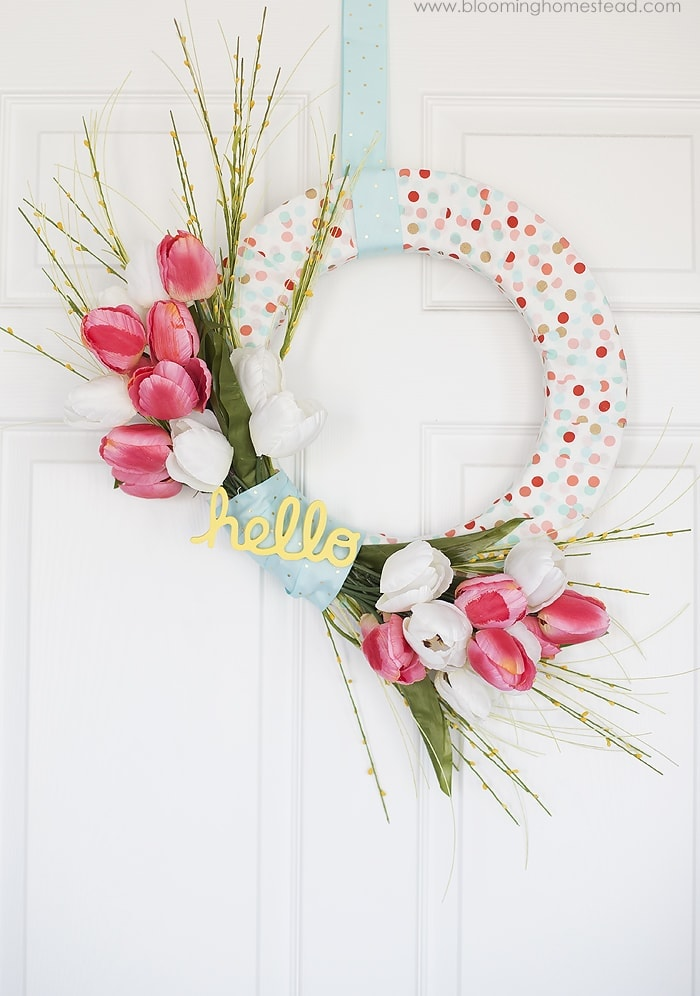 fabric wrapped wreath form with white and red tulips