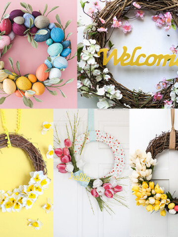 These DIY spring wreath ideas will help you bring lots of color and cheer to your front door! They are all easy and quick to make and so gorgeous!