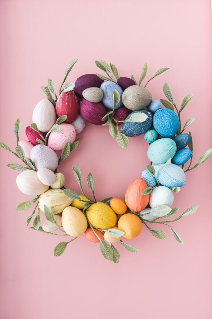 colorful eggs wrapped around the wreath