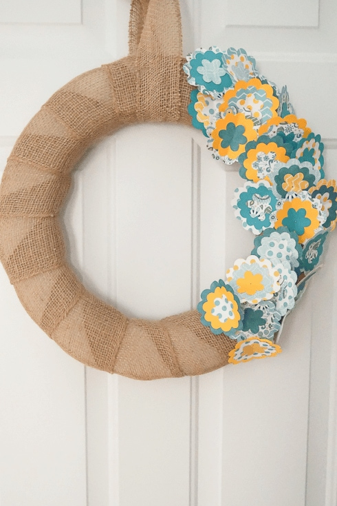 burlap wreath with fabric cutout flowers