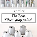 collage of silver spray paint and silver painted pots with text overlay