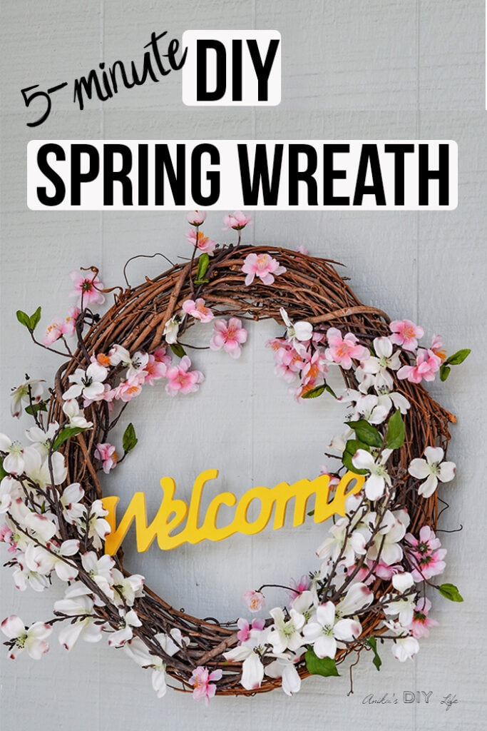 DIY grapevine spring wreath  with text overlay