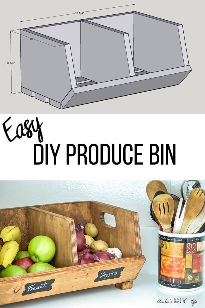 handmade wood decor fruit and veggie holder woodworking home Collage of produce bin and schematic with text overlay