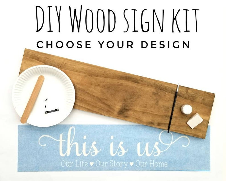 DIY wood sign kit with wood board and paint with paint brush and stencil