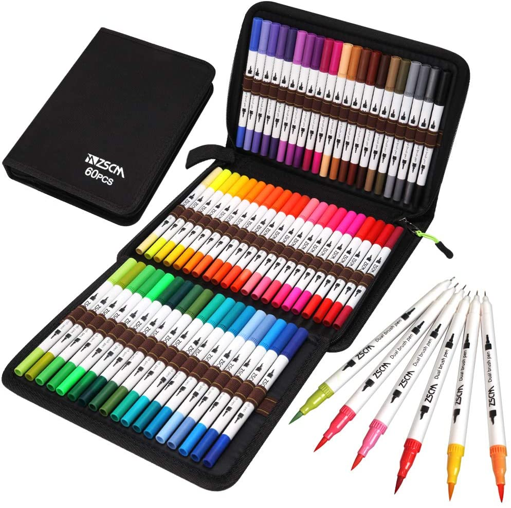 set of markers in a carrying case