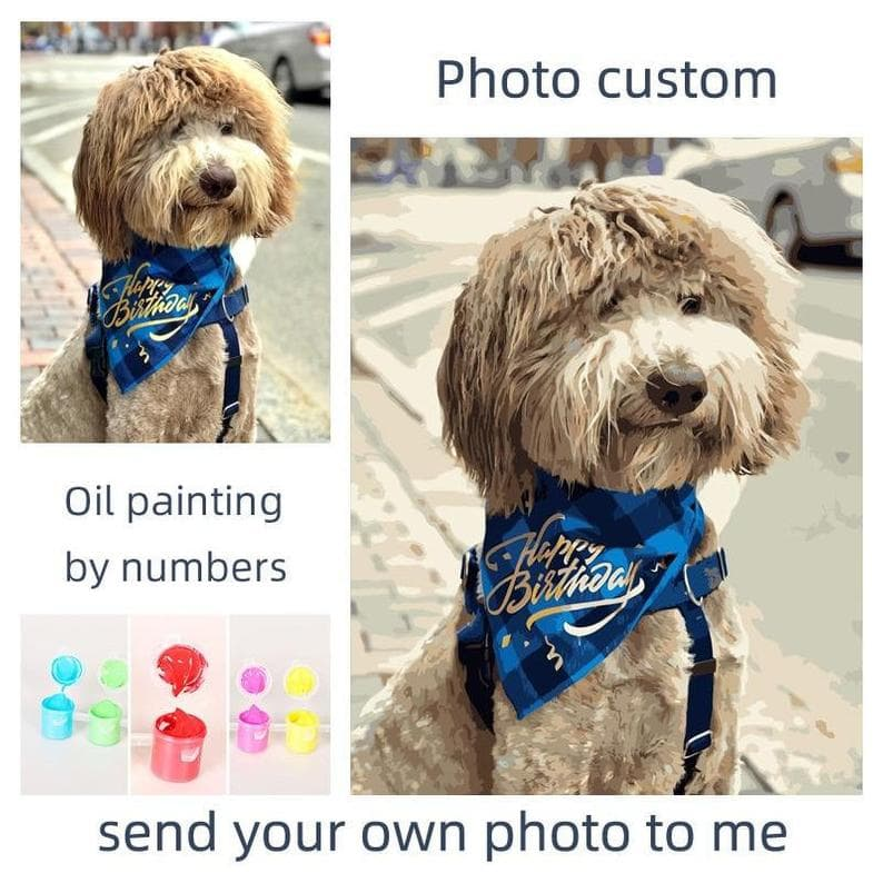 photo of dog with oil paint by numbers next to it