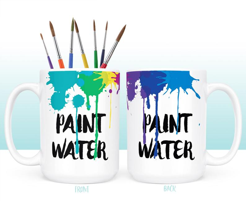 coffee mugs with paint water printed on them