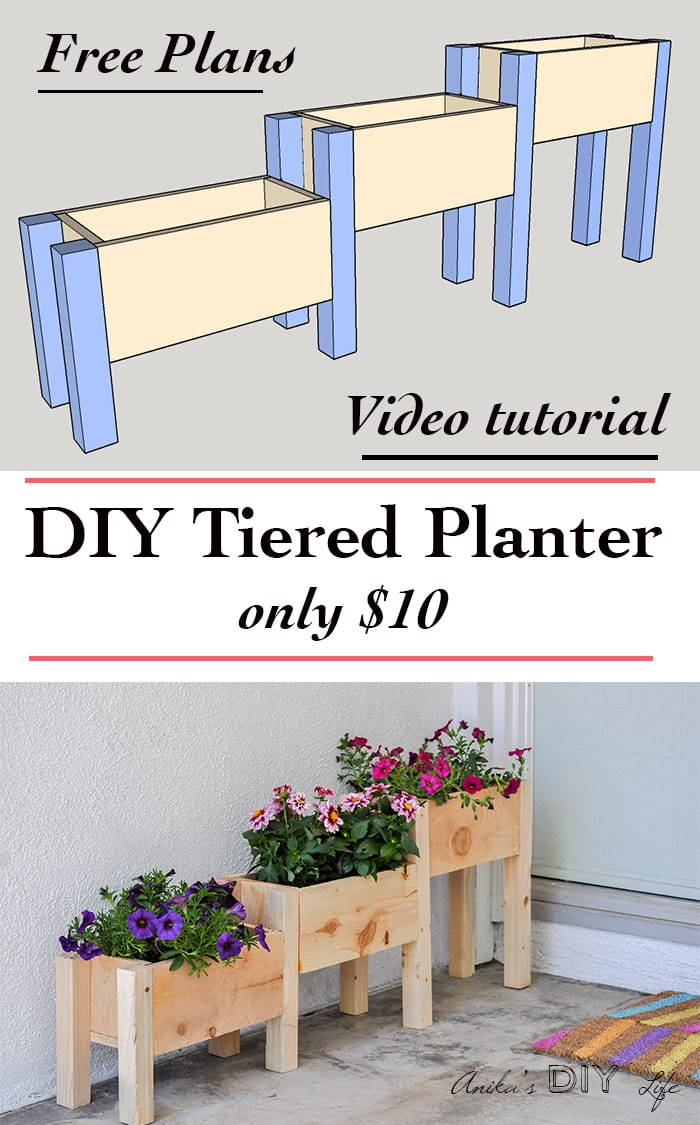 DIY Tiered planter box plans with video tutorial. Make it for only $10!  sc 1 st  Anikau0027s DIY Life & $10 DIY Tiered Planter Box Plans and Video Tutorial - Anikau0027s DIY Life Aboutintivar.Com