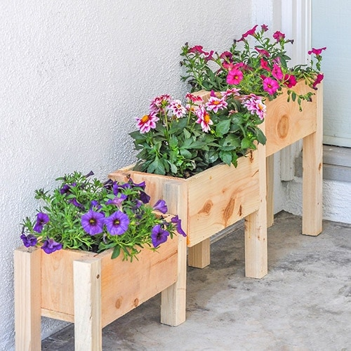 DIY Tiered planter on front porch